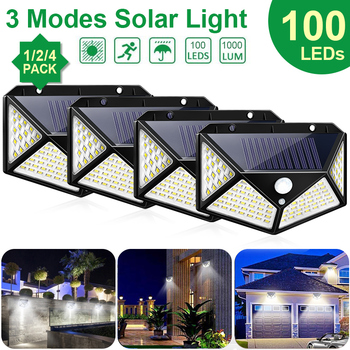 Goodland 100 LED Solar Light Outdoor Solar Lamp Powered Sunlight 3 Modes PIR Motion Sensor for Garden Decoration Wall Street 1