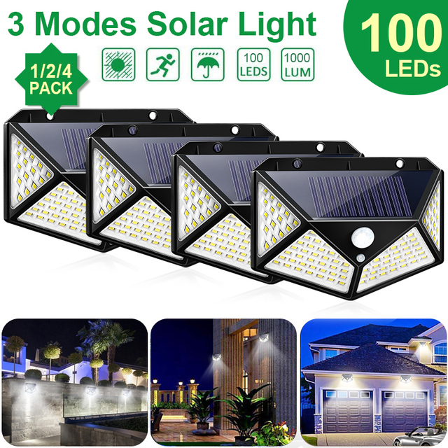 Goodland 100 LED Solar Light Outdoor Solar Lamp Powered Sunlight 3 Modes PIR Motion Sensor for Garden Decoration Wall Street 1