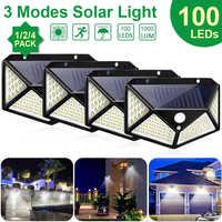 Goodland 100, luz Solar LED para exteriores, lámpara Solar alimentada con luz Solar, Sensor de movimiento PIR de 3 modos para decoración de jardín, pared, calle