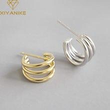XIYANIKE alerji önlemek 925 ayar gümüş moda küpe kadınlar için çiftler kore basit çok katmanlı hatları el yapımı takı