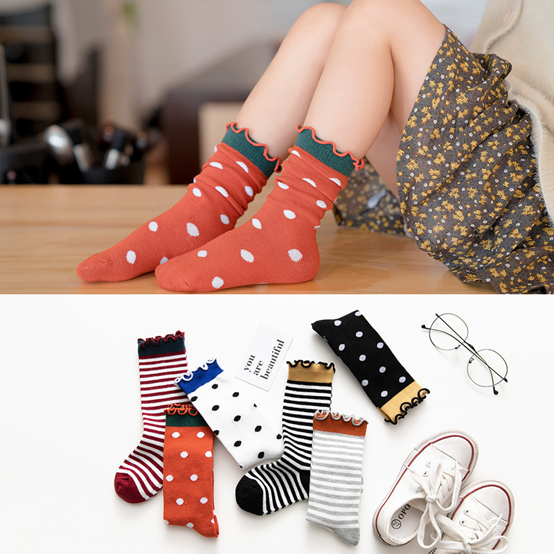 Spring Autumn Children Cotton Dot Stripe Socks Kids Girls Middle Height Socks Fashion Baby Clothes Princess Accessories