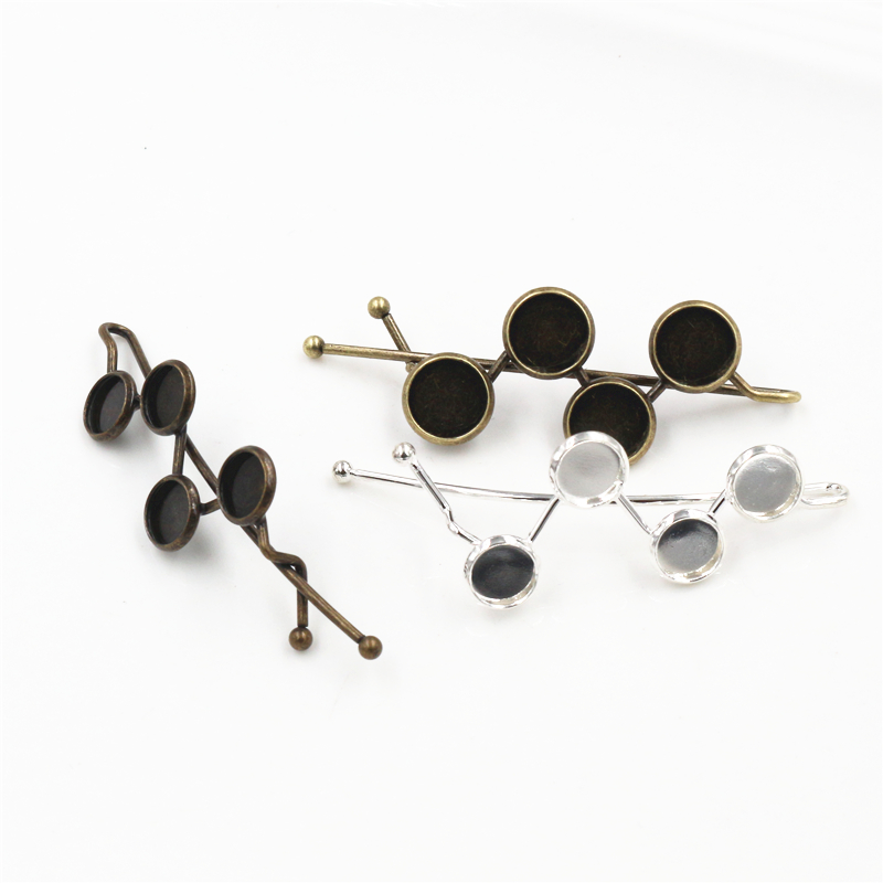 5pcs 8mm 10mm High Quality Four 8mm 10mm Cameos Silver Plated Bronze Plated Brass Hairpin Hair Clips Base Setting Cabochon Cameo