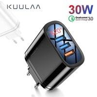 Kuulaa carga rápida 3.0 carregador usb 30w qc3.0 qc carregamento rápido multi plug carregador do telefone móvel para iphone samsung xiaomi huawei