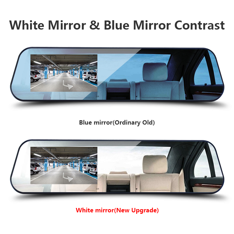 Car Dvr Dual Lens Car Camera White Rearview Mirror Recorder With Rear View Camera Video Registrator Auto Vehicle Dvr Dash Cam 3
