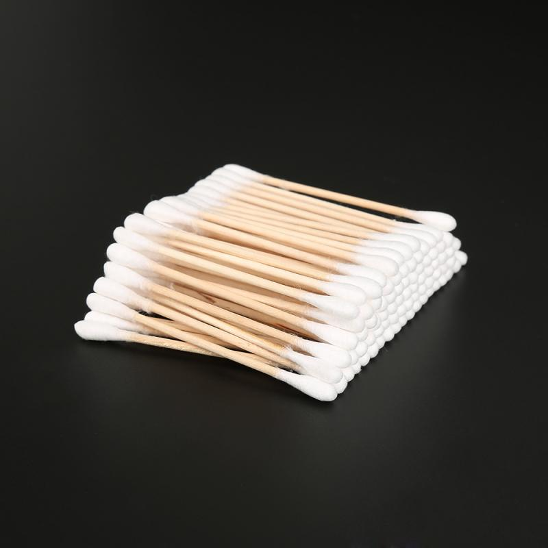 100 Pcs/ Pack Double Head Cotton Swab Women Makeup Cotton Buds Tip For Medical Wood Sticks Nose Ears Cleaning Health Care Tools