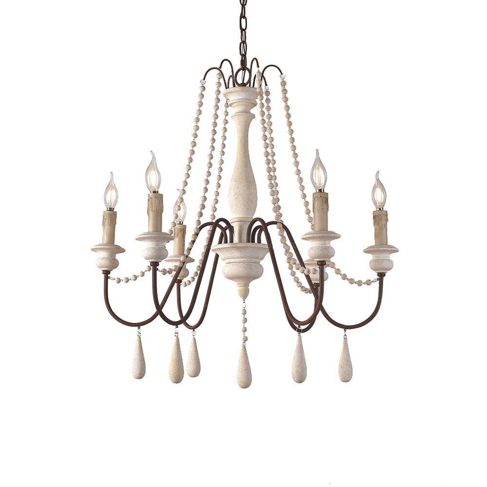 Vintage White Wooden Beads Chandelier Lighting Foyer Suspension Lustre Retro Elegant Chandelier Beautiful Lobby Light Loft Decor
