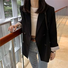 2019 Spring New Female Office Suit Korean Style Chic Large Size Black Double-breasted Slim Casual Wild Jacket black