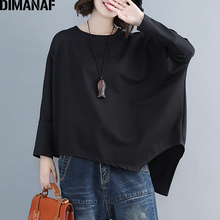 DIMANAF Plus Size Women T-Shirts Cotton Big Basic Tops Tees Female Loose Casual Tunic Shirts Long Sleeve Solid 2019 Autumn