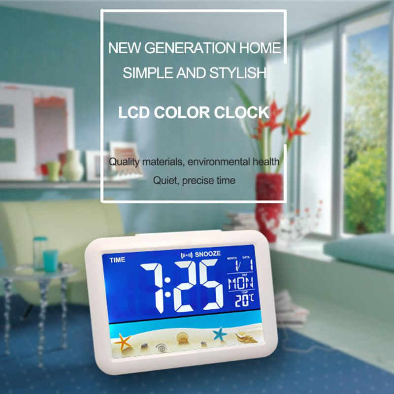 Color Screen Digital Calendar Alarm Clock Large Screen Electronic Clock Home Decor Desktop Clocks Toys