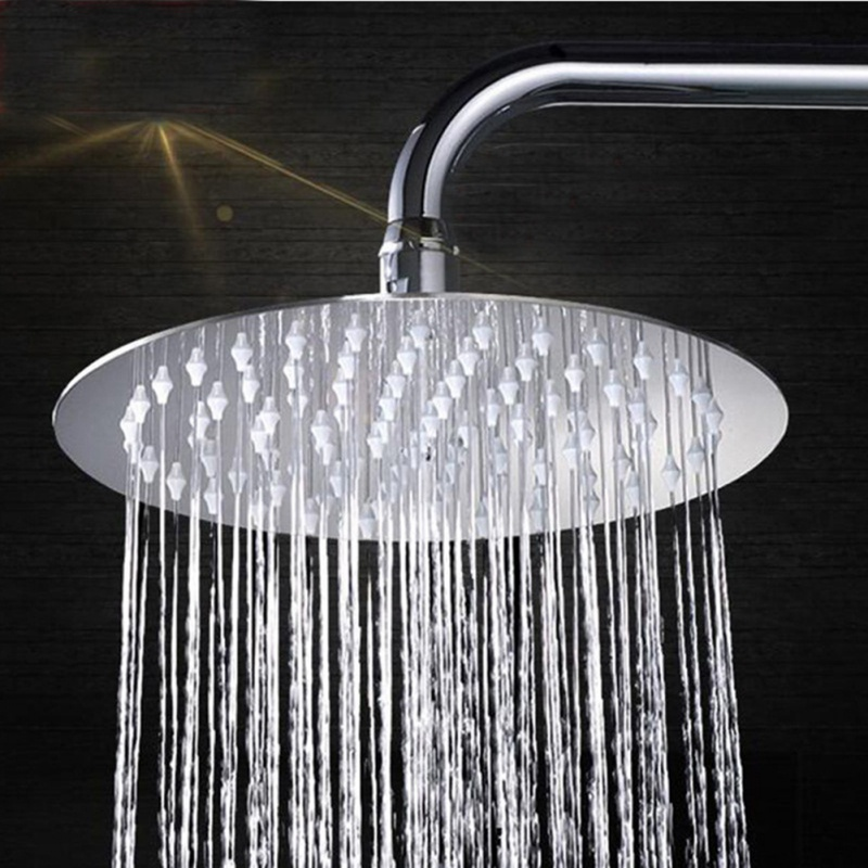 Round/Square Showerhead Rainfall Rain Shower Head Chrome Ultra-thin Stainless Steel High Pressure Bath Faucet Rainshower