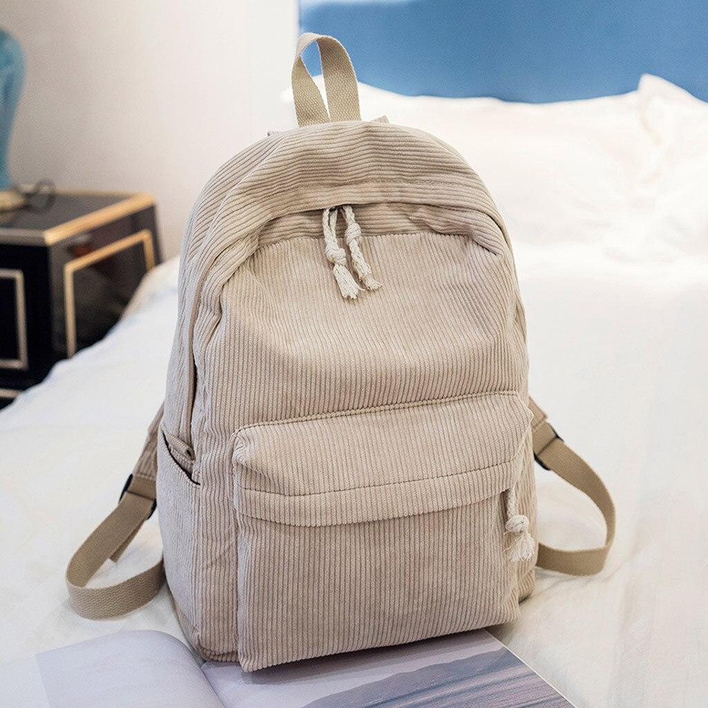 Fashion Women's Student Softback Shoulder Bags Corduroy Solid Zipper Casual Backpack Bag Double Shoulder Satchels рюкзак женский