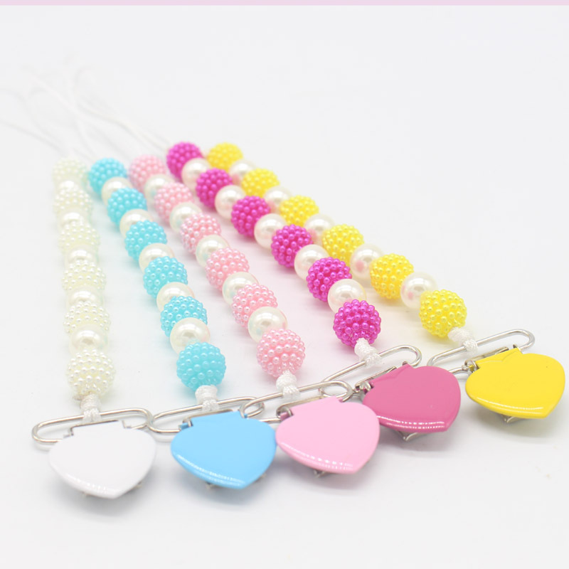New Soother Holder Anti-lose Pacifier Clip Chain Dummy Nipple Holder Pearls Baby Pacifier Clips Baby Pram Hook Hanging Strap