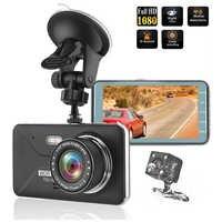 Cámara de coche DVR 4 pulgadas 2.5D IPS pantalla Full HD 1920x1080P DVR doble lente visión nocturna 24H Monitor de aparcamiento cámara de salpicadero GPS