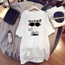 Повседневное платье футболка с принтом для девочек; Свободная