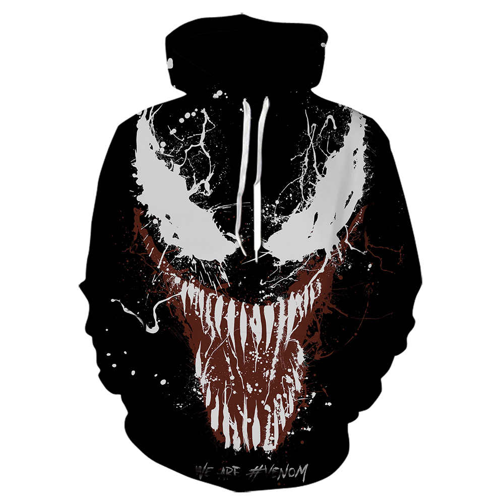 2019 autumn and winter new sweatshirt venom series movie 3D printing hoodie fashion sweatshirt men models Marvel hoodies  skull