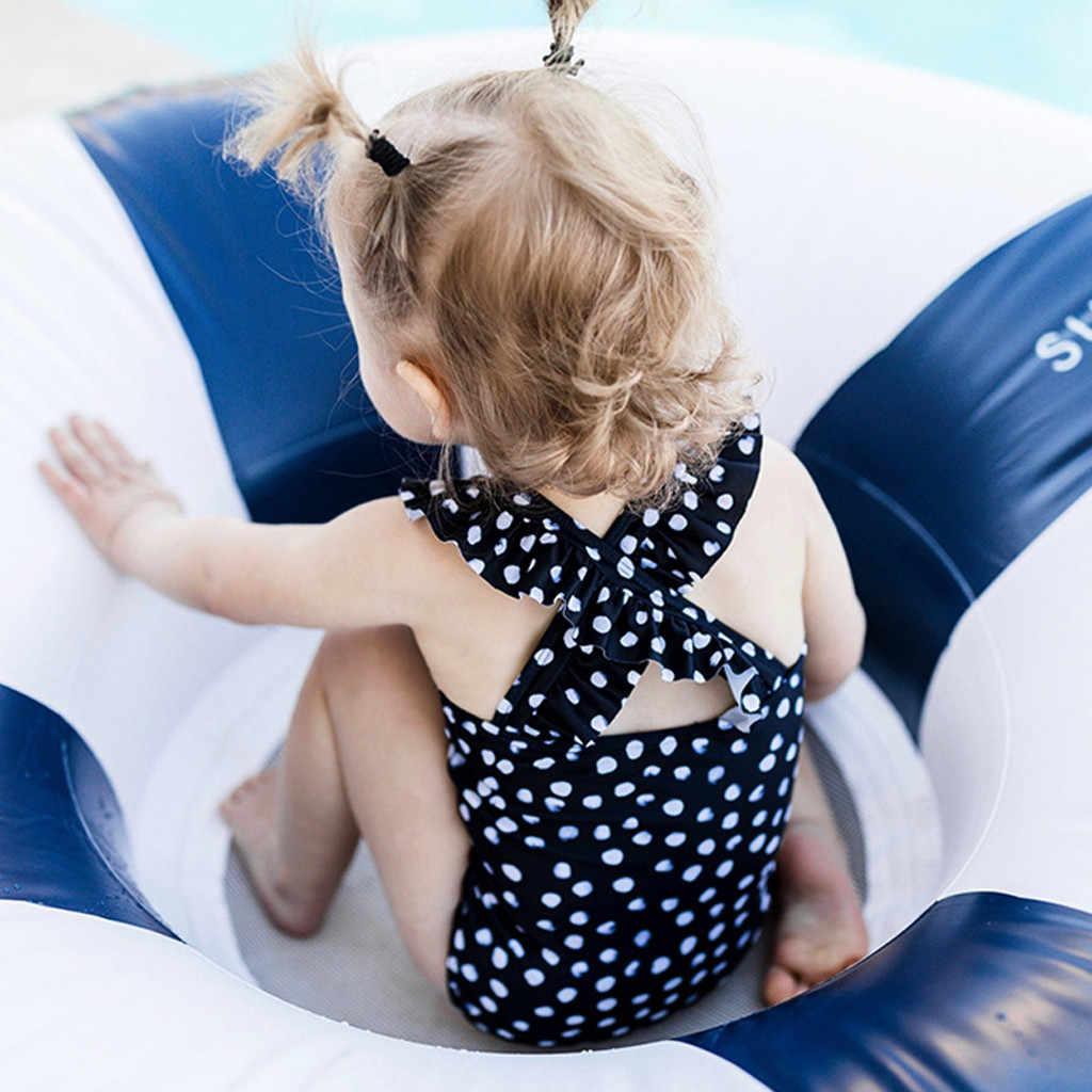 Crianças do bebê meninas ruffled dot cruz voltar bikini praia maiô banho de uma peça maiô um terno menina verão