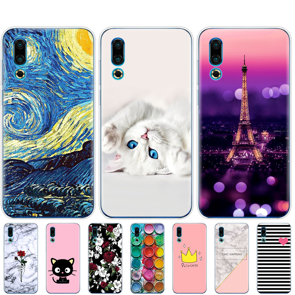 For <font><b>Meizu</b></font> 16S Case coque 6.2'' Cartoon Painted Soft TPU Silicon Back Cover on For <font><b>Meizu</b></font> 16s <font><b>16</b></font> S bumper Slim copas shockproof image