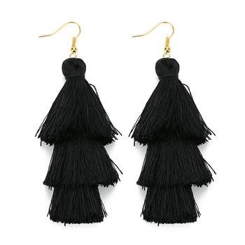 2020 3 Layered Bohemian Fringed Luxury Statement Tassel Earrings 2020  Boho Fashion Jewelry Women Long Drop Dangle Earrings 1
