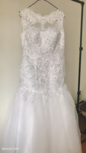 Image 2 - Fansmile 2020 New Arrival Africa Design Full Beading Handwork Beads Ruffle Tiered Mermaid Wedding Dress Backless Gowns FSM 507M