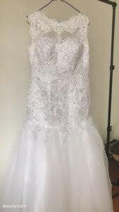 Image 2 - Fansmile vestido de casamento sereia, conjunto com miçangas handwork, roupas nuas e sem costas, para casamento 2020, recém chegado, FSM 507M