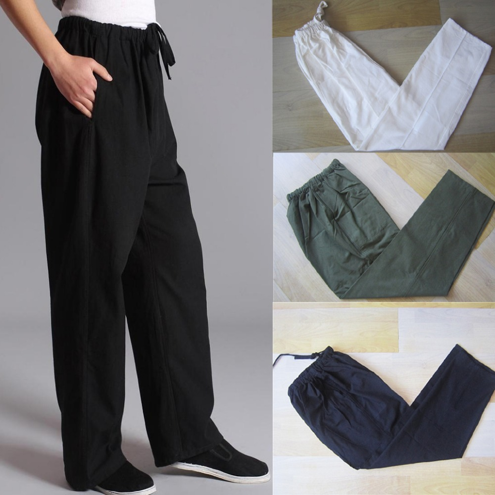 100-Cotton-Chinese-Traditional-Men-s-Kung-Fu-Pants-Wu-Shu-Tai-Chi-Elastic-Waist-Loose