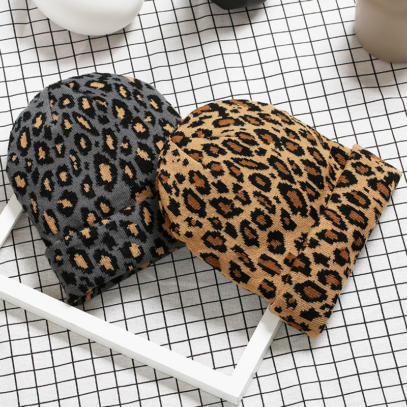 Helisopus Korean Winter Leopard Printed Knitting Hat 2020 Autumn And Winter New Crochet Warm Hat Skullies Unisex Caps