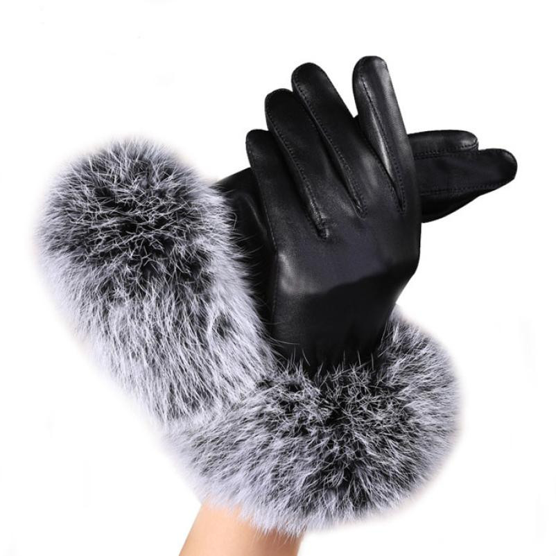 Warm Women Black Leather Gloves Casual Ladies Rabbit Fur Patchwork Winter Mittens Korean Female Solid Fashion Accessories