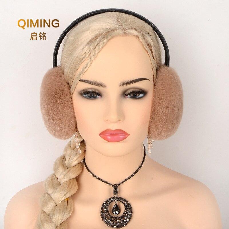 Russian Winter Accessories For 100% Natural Rex Rabbit Fur Earmuff Men Women Warm Fashion Earflap Plush Fluffy Ear Warmer Muffs
