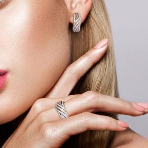 Image 5 - SANTUZZA תכשיטי סט לנשים טהור 925 סטרלינג כסף נוצץ לבן מעוקב Zirconia טבעת עגילי סט פשוט תכשיטים