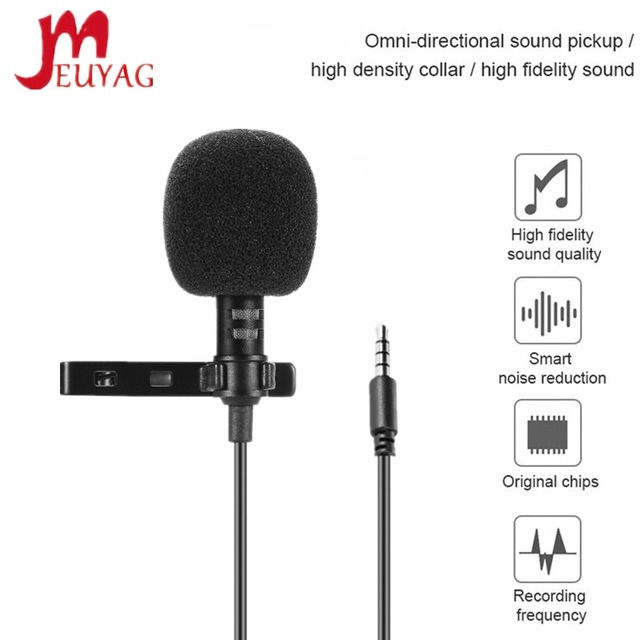MEUYAG 3.5mm jack Mini Portable 1.5M Microphone Clip tie Collar Condenser audio Wired Mic For Computer Laptop For Mobile Phone