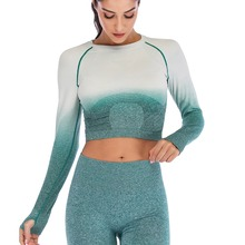 Women Yoga Top Ombre Sport Shirt Crop Long Sleeve High Stretchy Fitness Gym Set with Thumb Holes Seamless Workout Clothes