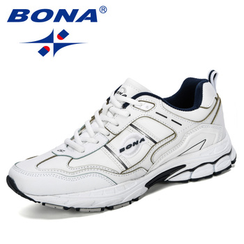 BONA 2019 New Designer Fashion Krasovki Men's Casual Shoes Male Cow Split Leather Sneakers Lightweight Shoes Tenis Masculino 1