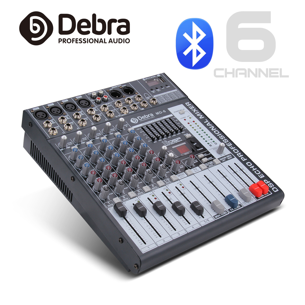Good quality, Clean sound!!! 6 Channels Mixer Digital Audio dj controller with 48V Phantom Power USB Slot for Recording Stage