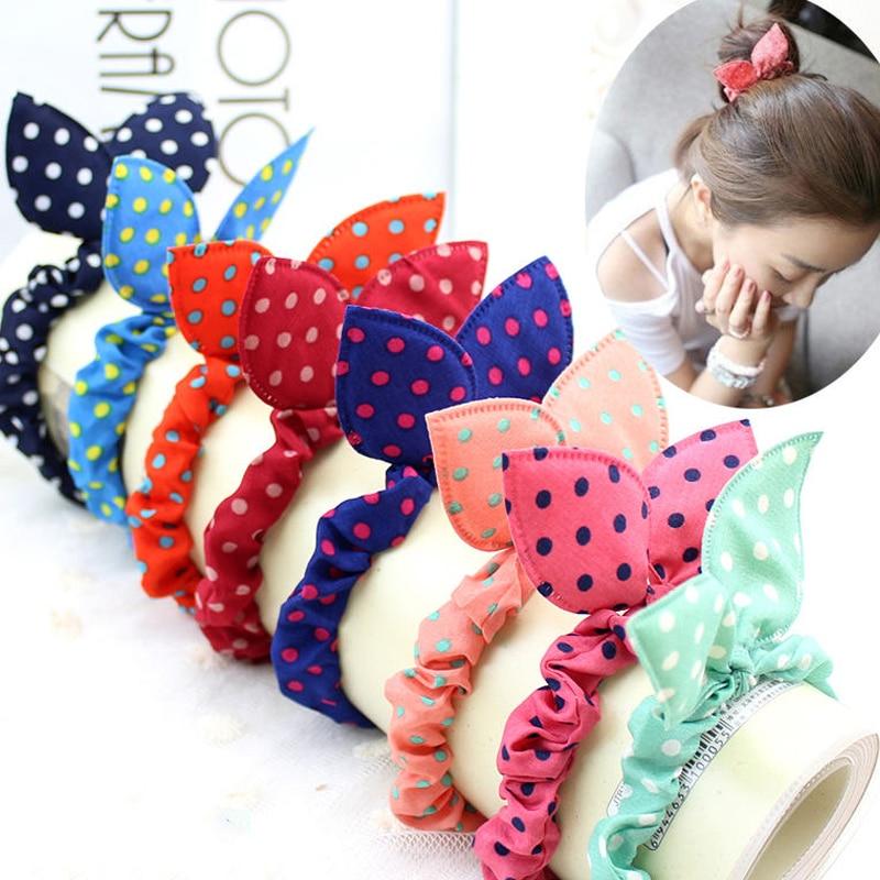 10PCS/Lot Mix Styles Fashion Cute Flower Hair Bands Rabbit Ears Elastic Ponytail Holder Hair Accessories Scrunchie Hair Ties