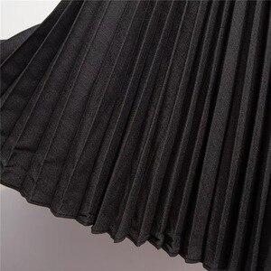 Image 5 - Женская юбка с оборками Marwin, зимняя Мягкая юбка контрастных цветов в стиле ретро, до середины икры, в европейском стиле, на Рождество