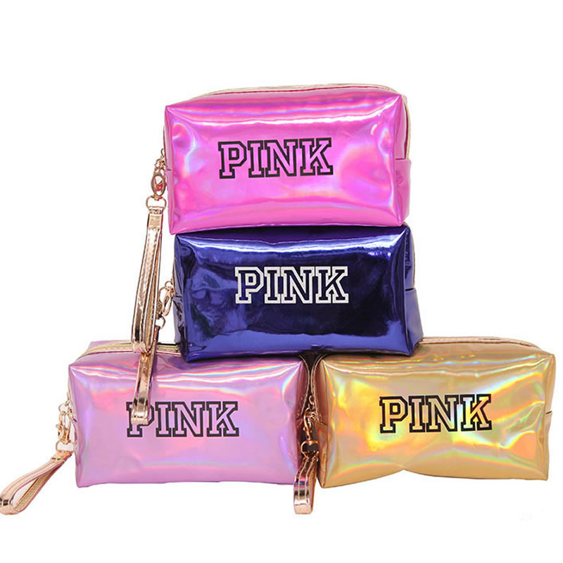 Women Fashion Cosmetic Bag Pink Laser Makeup Bag Zipper Make Up Handbag Organizer Storage Case Pouches Toiletry Wash Beauty Box