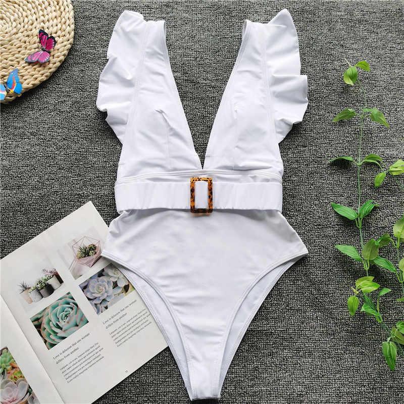 Vigorashely مثير عالية الخصر ملابس النساء Vintage قطعة واحدة ملابس السباحة الإناث حزام Monokini 2020 عميق الخامس ثوب السباحة ملابس سباحة حريمي