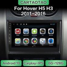 Jogador multimídia do carplay de wifi da navegação de gps do rádio do carro de android 10.0 para a parede excelente haval paira h5 h3 2011-2016 dsp rds ips 2din