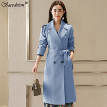 2020 Women Spring Lapel Windbreaker Fashion Double Breasted Women's Casual Sashes Trench