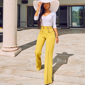 Formal Wide Leg Casual PANTS Office Lady Work High Waist Elegant Trousers Moderns For Working Woman Flare Palazzo Yellow Busines
