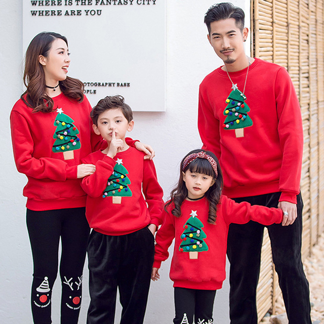 Christmas Family Matching Pajamas Winter Santa Claus Elk Print Casual Ugly Sweaters Xmas Gift Mommy and Me Hoodies Outfit