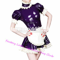 Latex Lolita Laced Dresses with Apron Cosplay Dress Sexy Maid Costumes Plug Size Custom Made sexy halloween costume