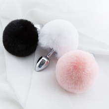 Zihinsel peluş topu tavşan kuyruğu Anal Plug paslanmaz çelik prostat masaj aleti Butt Plug BDSM seks oyuncakları kadınlar için yetişkin seks oyunu