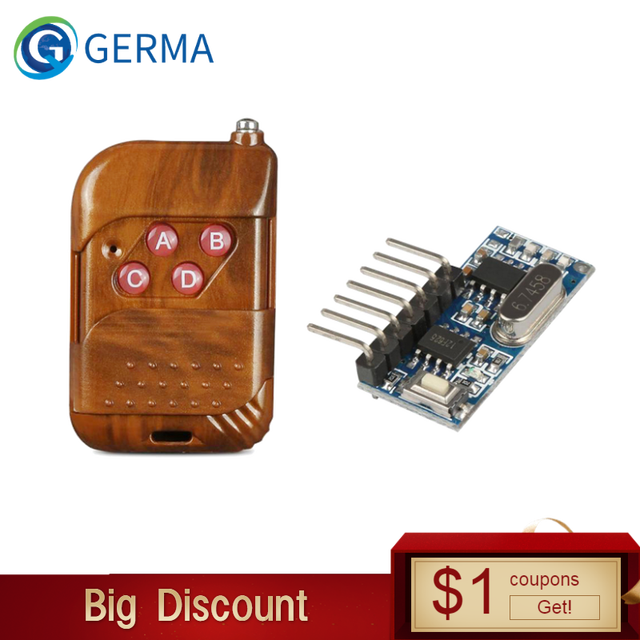 GERMA 433mhz RF Relay Receiver Module Wireless 4 CH Output With Learning Button and 433 Mhz RF Remote Controls Transmitter Diy