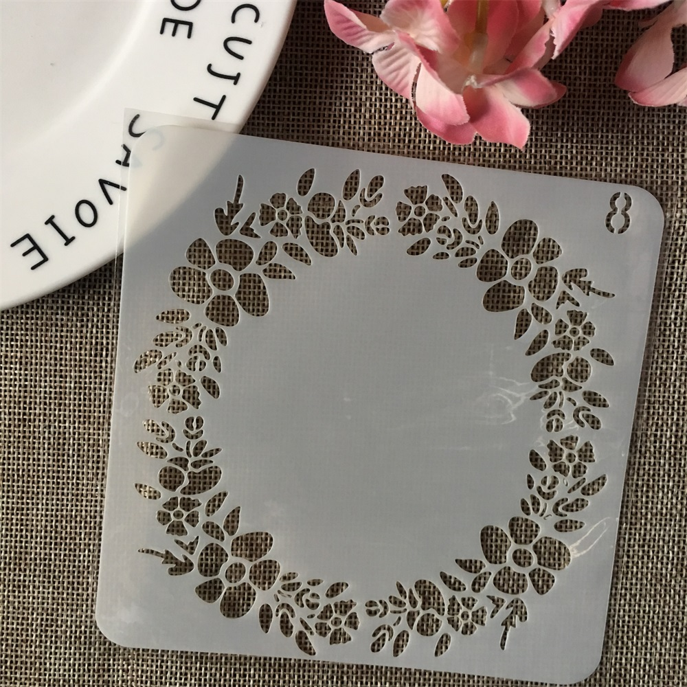13cm Garland Round DIY Layering Stencils Wall Painting Scrapbook Coloring Embossing Album Decorative Card Template