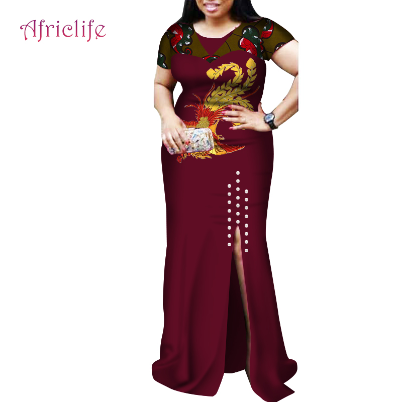 2019 African Dresses for Women Sexy Dresses Woman Party Night Bazin Riche African Women Print Dress Clothing Plus Size WY3878 in Dresses from Women 39 s Clothing