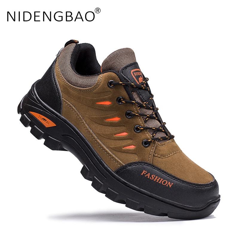 Outdoor Men Hiking Shoes Waterproof Anti-Slip Trekking Sneakers Male Mountain Climbing Shoes Lace Up Sport Shoes Big Size 39-44