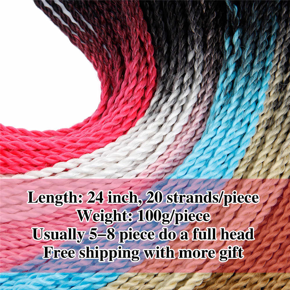 Hand Made Crochet Braids 24 Inch Ombre Senegalese Twist Hair Synthetic Braiding Hair Extension for Women Grey,blonde,pink,brown