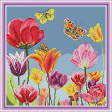 Joy Sunday counted cross stitch The Tulip Cotton Thread Painting 11CT14CT DIY Needlework Kits Embroidery Kits DMS Cross Stitch joy sunday sweetnessand poetic counted cross stitch 11