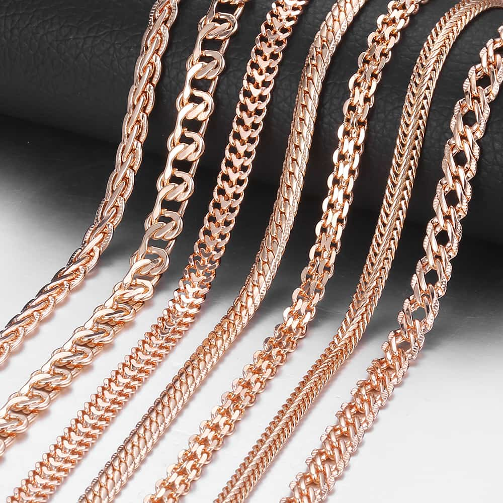 Fashion Necklace For Women Men 585 Rose Gold Venitian Curb Snail Foxtail Link Chains Necklace Fashion Jewelry 50cm 60cm CNN1|Chain Necklaces|   - AliExpress